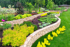 Natural landscaping in home garden. Natural flower landscaping in home garden Stock Photo