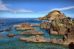 Natural lava-rock pools in Porto Moniz, Madeira island Royalty Free Stock Photography