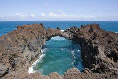 Natural lava stone arch Arco de la Tosca, El Hierr Royalty Free Stock Photography