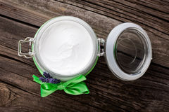 Natural lavender and coconut body butter DIY Stock Photo