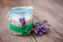 Natural lavender and coconut body scrub Royalty Free Stock Photos