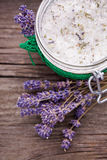Natural lavender and coconut body scrub Royalty Free Stock Photography
