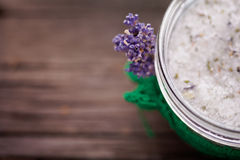 Natural lavender and coconut body scrub. Handmade DIY natural sugar body scrub with lavender and coconut oil Stock Photography