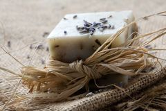 Natural lavender soap Royalty Free Stock Images