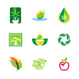 Natural leaf environment bio ecology logos Stock Photos