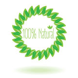Natural 100% with leaf or leaf Stock Photography
