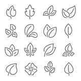 Natural leaf line icons. Young leaves of plants, forest tree leafs and eco greens fertilizer vector outline pictogram vector illustration