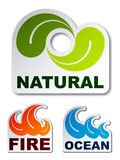 Natural leaf ocean wave flame fire stickers. See also my gallery Stock Image