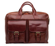 Natural leather both male and female briefcase Stock Photo