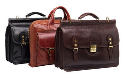 Natural leather both male and female briefcases Royalty Free Stock Photo