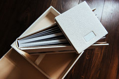 Natural leather classic wedding photobook and album Royalty Free Stock Image
