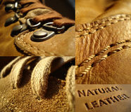 Natural leather. Collage made of natural leather Royalty Free Stock Photos