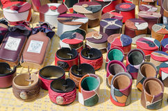 Natural leather color pencil and boxes fair stall Stock Images