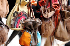 Natural leather mini bag. For money and small things Royalty Free Stock Images