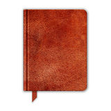 Natural Leather Notebook. Copybook With Bookmark Stock Photo