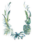 Natural leaves exotic watercolor wreath. For wedding invitation, green tropical leaves, fern, dense jungle, Hand painted botanical summer illustration on white Stock Image