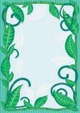 Natural Leaves Frame_eps. Illustration of natural green leaves frame with stripe background Stock Photo