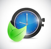 Natural leaves over watch. illustration design Stock Photo