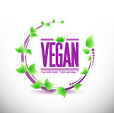 Natural leaves vegan sign illustration Royalty Free Stock Photography