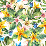 Natural leaves watercolor seamless pattern, flower orchid Stock Image