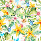 Natural leaves watercolor seamless pattern, flower orchid Stock Photos