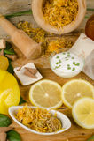 Natural lemon cosmetics still life Stock Image