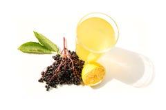 Natural Lemonade with elder berries Stock Photos