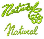 Natural letterings collection Royalty Free Stock Images