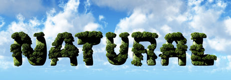 Natural letters 3d illustration Royalty Free Stock Images
