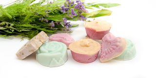 Natural levander home made soap on a white background Royalty Free Stock Photography
