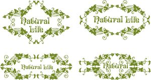 Natural life 01. Green frame design consisting of flowers and leaves royalty free illustration