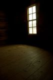Natural Light. Light shining through a cabin window on to the old rustic wood floor. Farm house in Cades Cove, Great Smoky Mountains National Park stock image