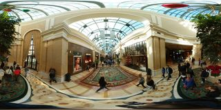 Natural light indoor walking area, Bellagio, Las Vegas. Building is shopping mall, plaza and greenhouse, nursery, glasshouse. That marvel has retail, palace and Stock Image