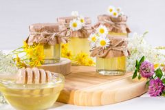 Natural light liquid honey. Honey in glass jars and dipper with flowers. royalty free stock photography