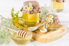 Natural light liquid honey. Honey in glass jars and dipper with wild flowers. Stock Photo