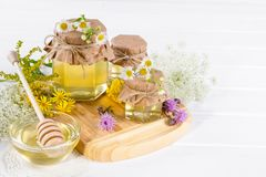 Natural light liquid honey. Honey in glass jars and dipper with wild flowers. Stock Images