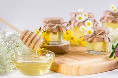 Natural light liquid honey. Honey in glass jars and dipper with wild flowers. stock photos