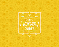 Natural linden honey seamless pattern and template label. White print on yellow pattern background Stock Photography