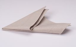 Natural Linen Napkin On White Background Stock Photos