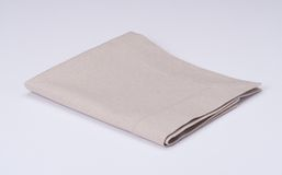 Natural Linen Napkin On White Background Stock Image
