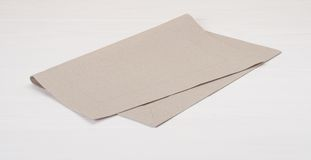 Natural Linen Napkin On White Painted Wood Stock Photos
