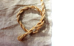 Natural linen rope on the surface Royalty Free Stock Image