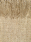 Natural linen texture pattern with fringe.Background. Royalty Free Stock Photos