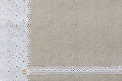 Natural linen texture with white lace Stock Photo