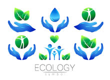 Natural logo vector design set. Hands leaves water and peple on white background. Green and blue colors. Sign for Royalty Free Stock Image