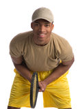Natural Looking African American College Student Holding Tennis Royalty Free Stock Photography