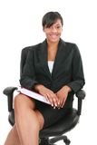 Natural Looking Black Female Businesswoman Sitting Royalty Free Stock Photography