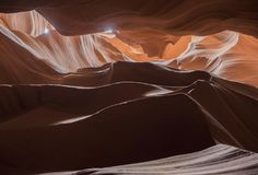 Natural looking of the Upper Antelope Canyon, Route 98. Arizona, AZ, USA: view inside the Upper Antelope Canyon, a Sandstone Slot Canyon with spiral rocks and Royalty Free Stock Photo