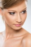 Natural looking woman enjoy her beauty Stock Images