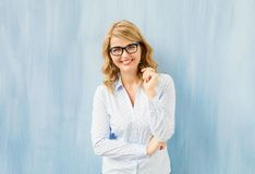 Natural looking woman wearing modern glasses Stock Image